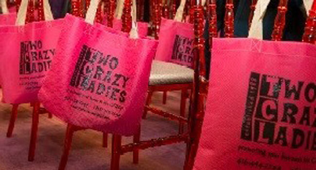two crazy ladies pink totes