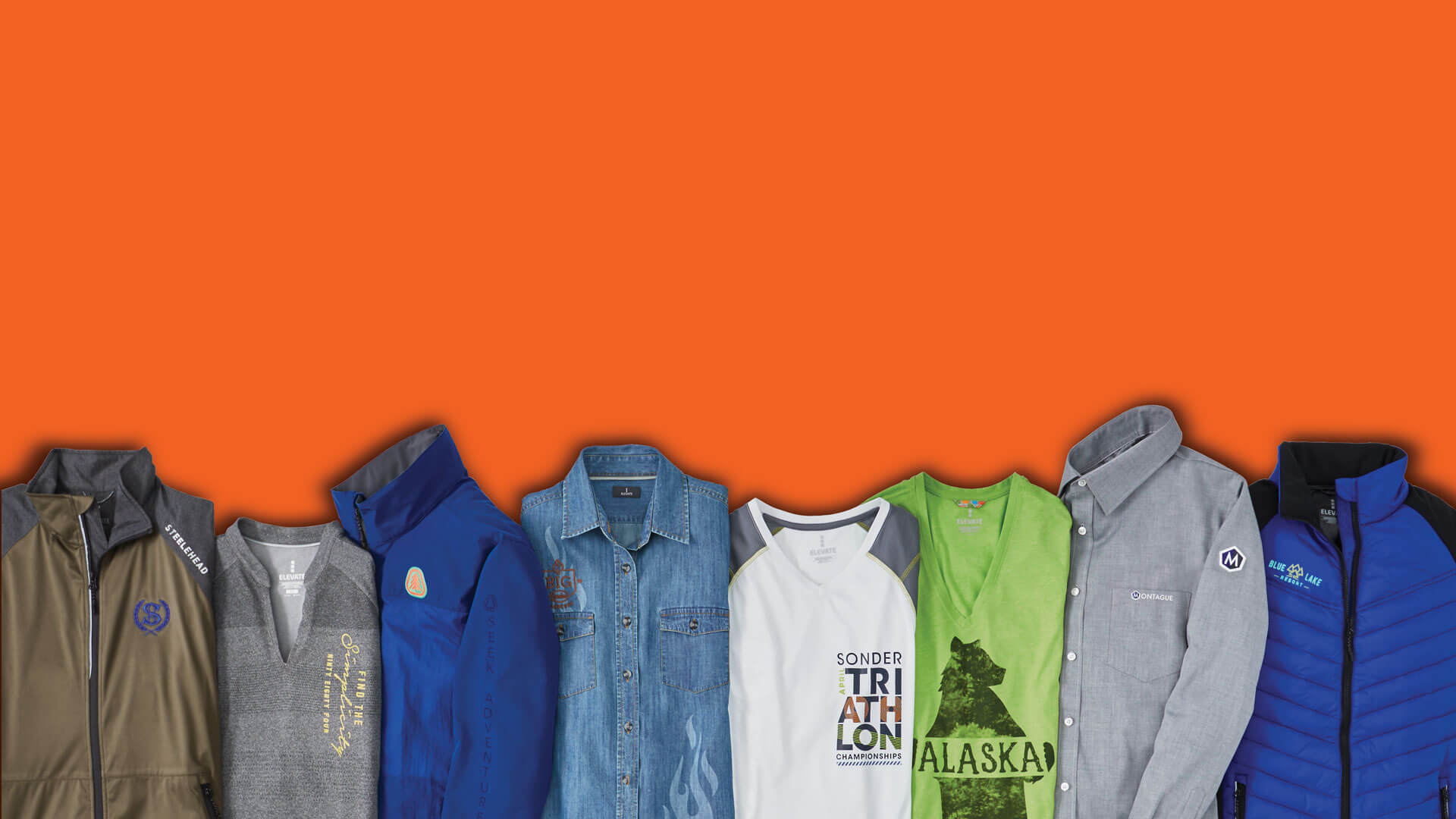 clothing on orange background