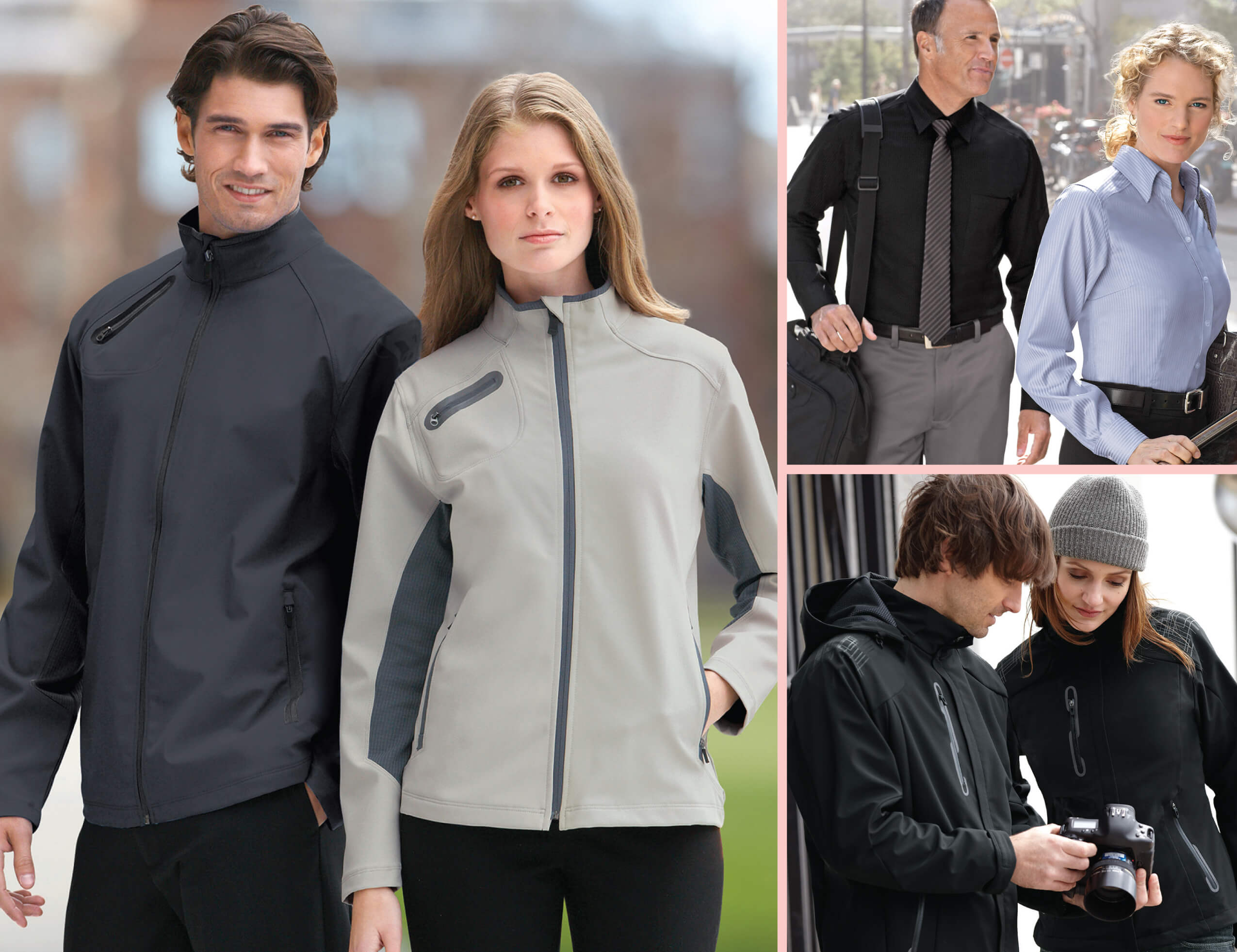 men and women modelling windbreakers
