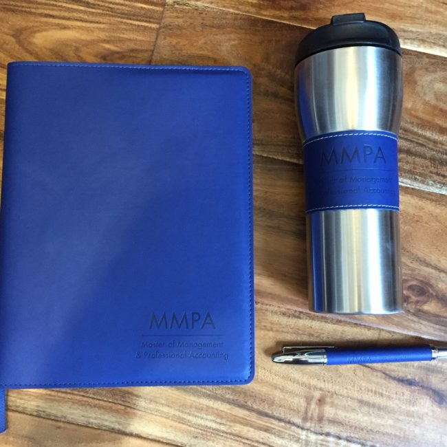 mmpa blue leather notebook with stainless steel mug and pen