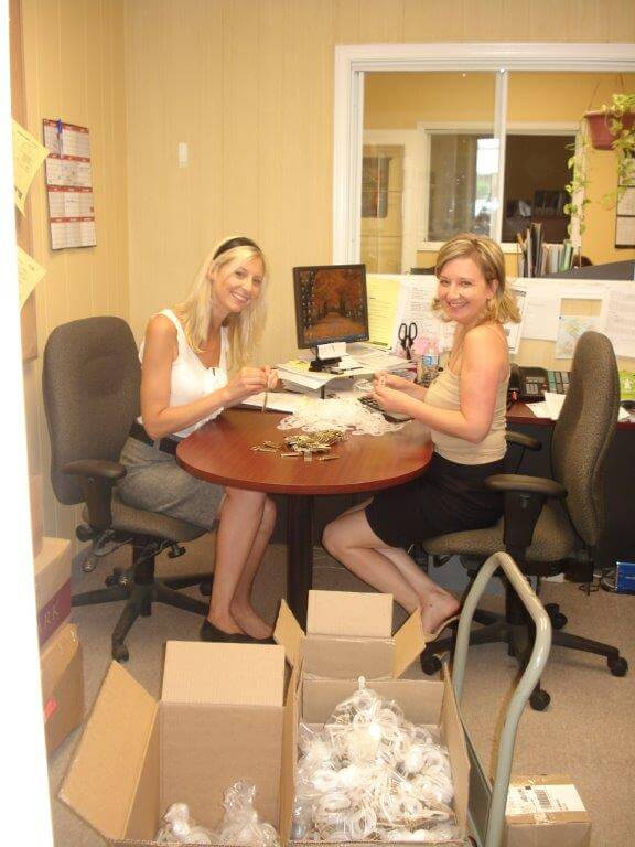 Ashley and Sabina packaging items