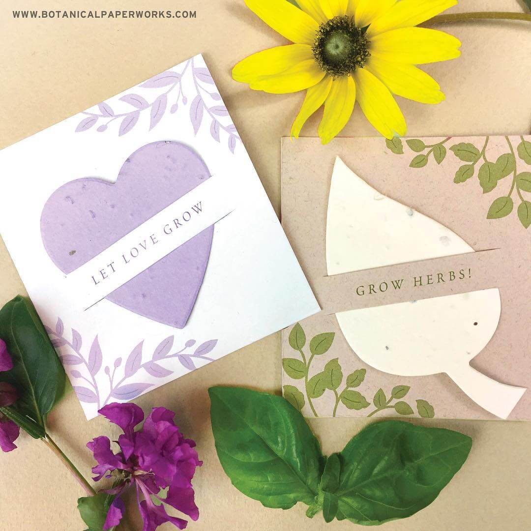 cards with flowers and herbs